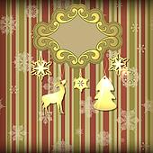 Vector  Christmas Greeting Card with Floral Frame and Shiny Toys