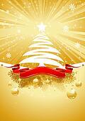 Gold Christmas Card with Christmas Tree