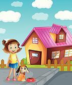 girl, dog and house