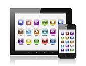 Tablet pc and smart phone with icons on white background