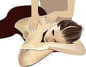 back massage, spa, girl, woman