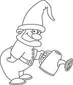 gnome gardener outlined