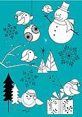 Winter Robins Set Black and White