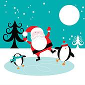 Santa and Penguins on Ice