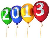 New Year 2013 balloons multicolor