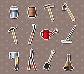 set of Gardening tools stickers