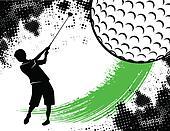 Golf Background With Boy Swinging