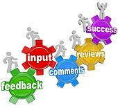 Feedback People Marching Up Gears Input to Success