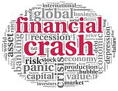 Financial crash concept on white