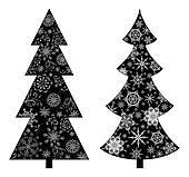 Christmas trees, silhouette
