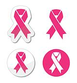 Vector set of pink ribbons symbols