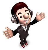 Welcoming gesture, business man. 3D Warrantee Service Man Charac