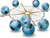Compass points earth global directions