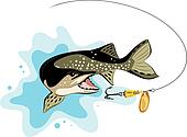 pike and lure fishing, vector