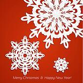 Applique snowflakes Christmas card