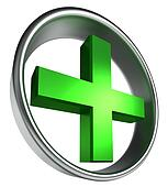 green health cross in round metal frame