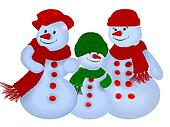 Snowmen wearing hats and scarves