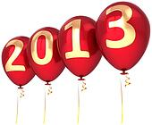 New Year 2013 helium balloons red