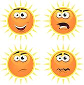 Cartoon Sun Icons Emotions