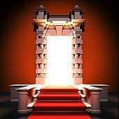 Red carpet way to classical portal.