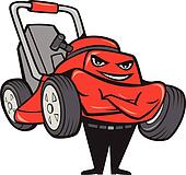 Lawn Mower Man Standing Arms Folded Cartoon
