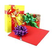 gift and gift card on white background
