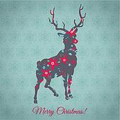 Christmas Card - with Colorful Reindeer - in vector