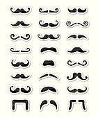 Moustache / mustache icons isolated