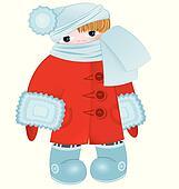 Cartoon kid in red vector
