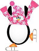Penguin Skating Pirouette Illustration