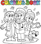 Coloring book carol singing theme 1
