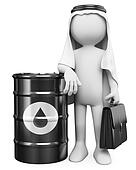 3D white people. Arab man with a barrel of oil