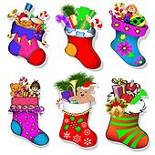 of a set of socks with gifts for Christmas