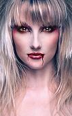 portrait of a beautiful blond girl vampire