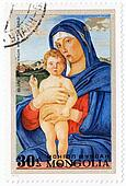MONGOLIA - CIRCA 1972: stamp printed in Mongolia shows picture Blessed Virgin with the child by painter Bellini, circa 1972