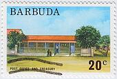 BARBUDA - CIRCA 1976: stamp printed in Barbuda shows Post Office And Treasury, circa 1976