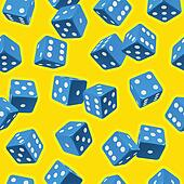 Vector dice seamless background. Blue on yellow.