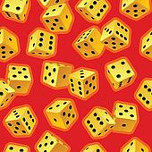Vector dice seamless background. Yellow on red.