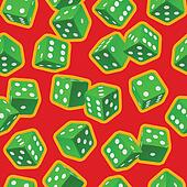Vector dice seamless background. Green on red