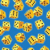 Vector dice seamless background. Yellow on blue