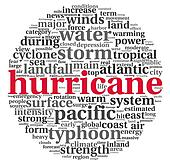 Hurricane concept in word tag cloud