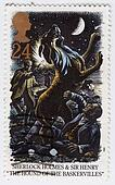 UNITED KINGDOM - CIRCA 1993 : stamp printed in Great Britain shows Sherlock Holmes and Sir Henry in The hound of the Baskervilles, circa 1993