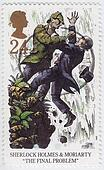 UNITED KINGDOM - CIRCA 1993 : stamp printed in Great Britain shows Sherlock Holmes and Moriarty in The final problem, circa 1993