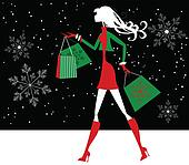 Christmas Shopping Girl Silhouette