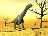 Argentinosaurus dinosaur in the wild