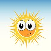 sun funny with smile and big eye