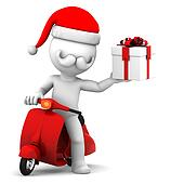 Santa Claus on scooter holding gift