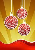 Golden christmas baubles background