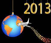 airplane circling the globe merry