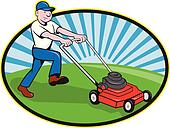 Lawn Mower Man Gardener Cartoon